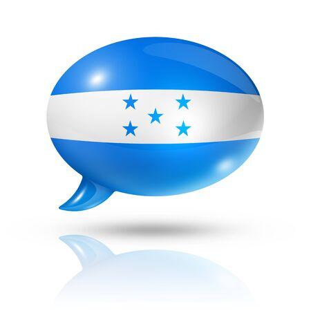 bandera honduras: tres bandera Honduras dimensional en una burbuja de discurso aislado en blanco con trazado de recorte