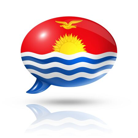 three dimensional: three dimensional Kiribati flag in a speech bubble isolated on white with clipping path Stock Photo