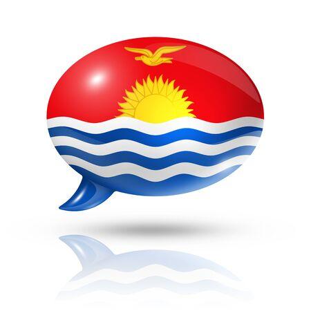 kiribati: three dimensional Kiribati flag in a speech bubble isolated on white with clipping path Stock Photo