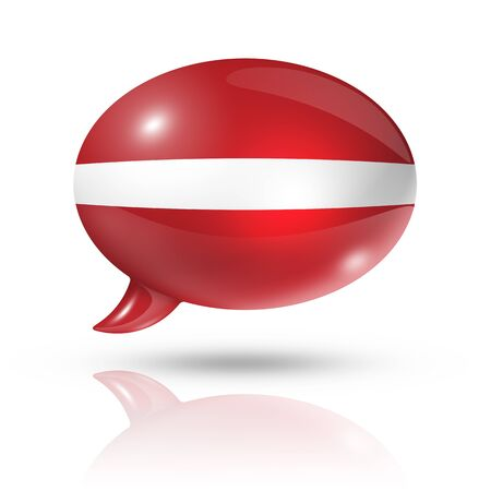 three dimensional Latvia flag in a speech bubble isolated on white with clipping path