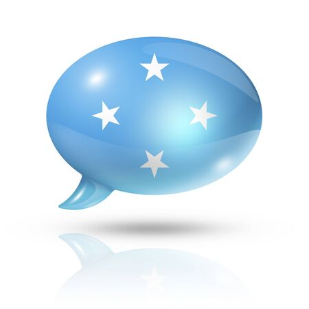 converse: three dimensional Micronesia flag in a speech bubble isolated on white with clipping path Stock Photo