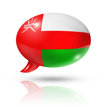 three dimensional: three dimensional Oman flag in a speech bubble isolated on white with clipping path Stock Photo