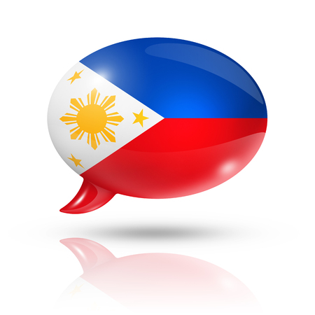 philippines: three dimensional Philippines flag in a speech bubble isolated on white with clipping path