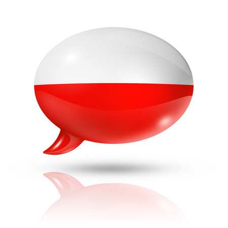 poland flag: three dimensional Poland flag in a speech bubble isolated on white with clipping path Stock Photo