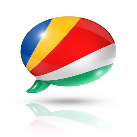 converse: three dimensional Seychelles flag in a speech bubble isolated on white with clipping path