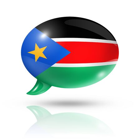 south sudan: three dimensional South Sudan flag in a speech bubble isolated on white with clipping path