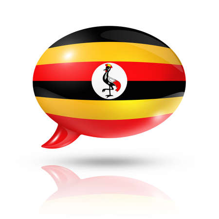 ugandan: three dimensional Uganda flag in a speech bubble isolated on white with clipping path Stock Photo