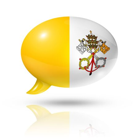 vatican city: three dimensional Vatican City flag in a speech bubble isolated on white with clipping path Stock Photo
