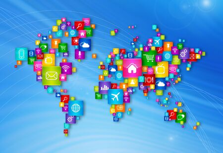 global communication: World Map Flying Desktop Icons collection. Cloud Computing concept Stock Photo