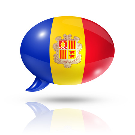 translating: three dimensional Andorra flag in a speech bubble isolated on white with clipping path Stock Photo
