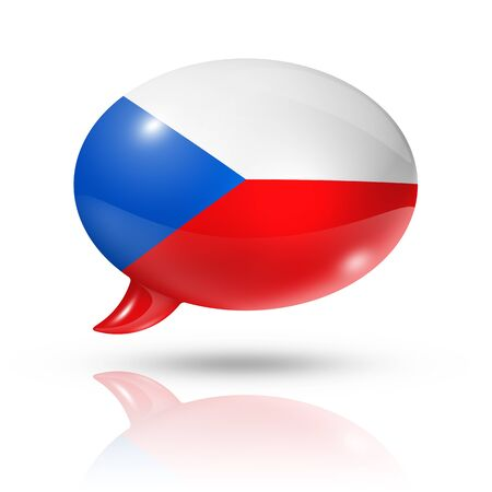 czech republic flag: three dimensional Czech Republic flag in a speech bubble isolated on white  Stock Photo