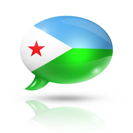 three dimensional: three dimensional Djibouti flag in a speech bubble isolated on white with clipping path