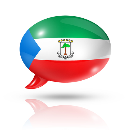 converse: three dimensional Equatorial Guinea flag in a speech bubble isolated on white  Stock Photo