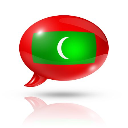 translating: three dimensional Maldives flag in a speech bubble isolated on white