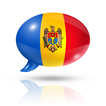 moldovan: three dimensional Moldova flag in a speech bubble isolated on white with clipping path