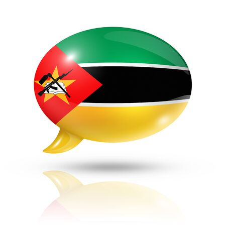 translating: three dimensional Mozambique flag in a speech bubble isolated on white