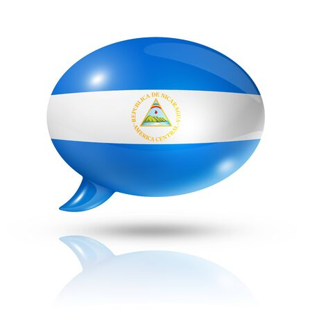 converse: three dimensional Nicaragua flag in a speech bubble isolated on white with clipping path Stock Photo