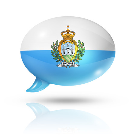 converse: three dimensional San Marino flag in a speech bubble isolated on white Stock Photo