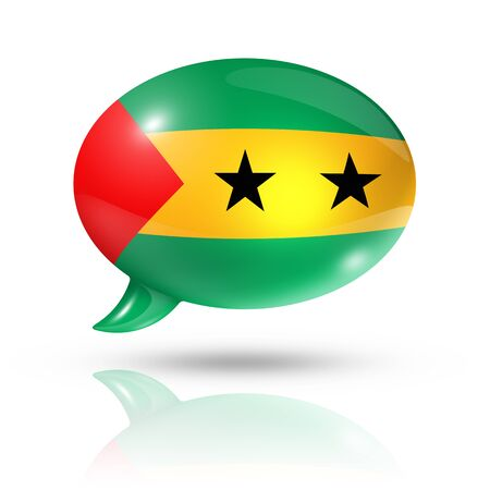 three dimensional: three dimensional Sao Tome and Principe flag in a speech bubble isolated on white