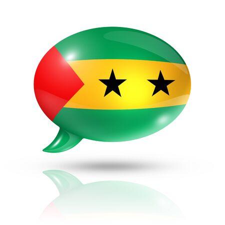 principe: tres dimensiones de bandera Santo Tomé y Príncipe en una burbuja de discurso aislado en blanco