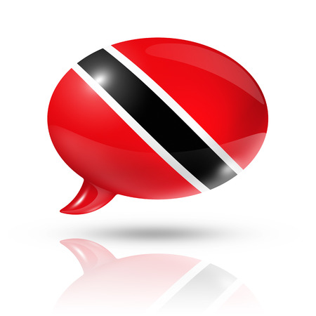 translating: three dimensional Trinidad And Tobago flag in a speech bubble isolated on white Stock Photo
