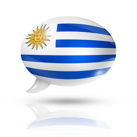 converse: three dimensional Uruguay flag in a speech bubble isolated on white
