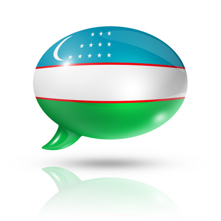 three dimensional Uzbekistan flag in a speech bubble isolated on white