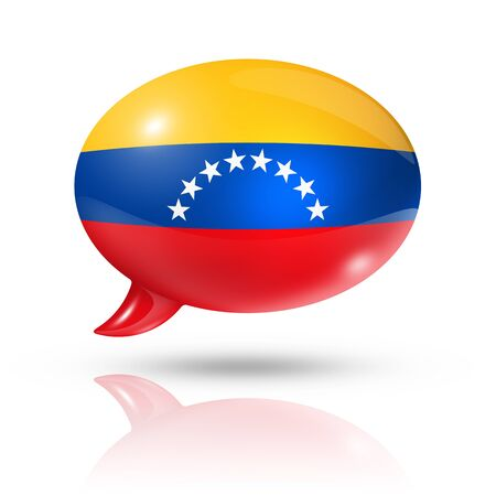 converse: three dimensional Venezuela flag in a speech bubble isolated on white  Stock Photo