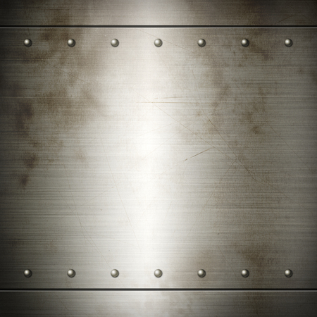 riveted: Old steel riveted brushed plate background texture. Metal frame background Stock Photo