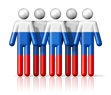 citizenship: Flag of Russia on stick figure - national and social community symbol 3D icon Stock Photo