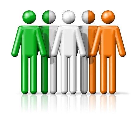irish ethnicity: Flag of Ireland on stick figure - national and social community symbol 3D icon Stock Photo