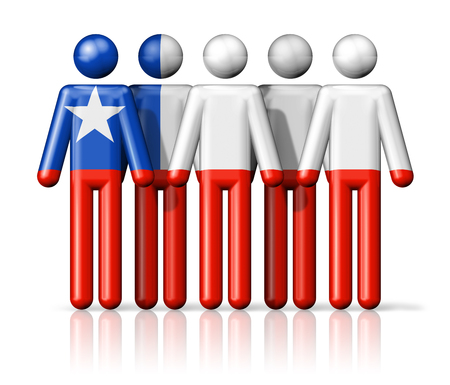 chile flag: Flag of Chile on stick figure - national and social community symbol 3D icon Stock Photo