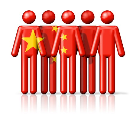 china flag: Flag of China on stick figure - national and social community symbol 3D icon
