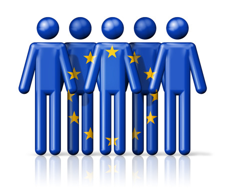 eec: Flag of European union on stick figure - national and social community symbol 3D icon Stock Photo