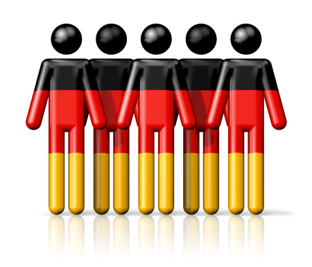 german ethnicity: Flag of Germany on stick figure - national and social community symbol 3D icon