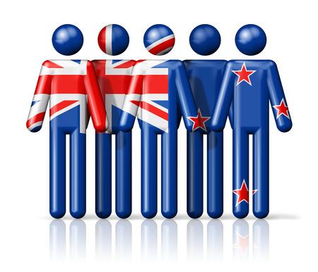 bandera de nueva zelanda: Bandera de Nueva Zelanda en la figura de palo - símbolo nacional y social de la comunidad icono 3D Foto de archivo