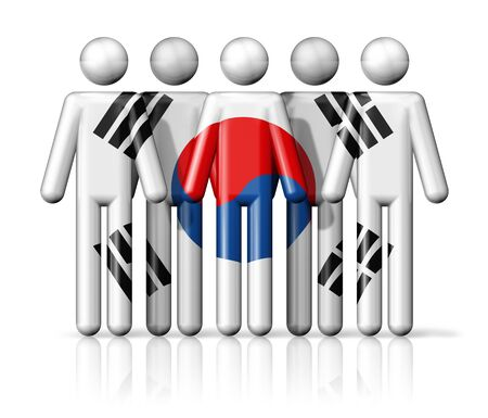 korea flag: Flag of South Korea on stick figure - national and social community symbol 3D icon Stock Photo