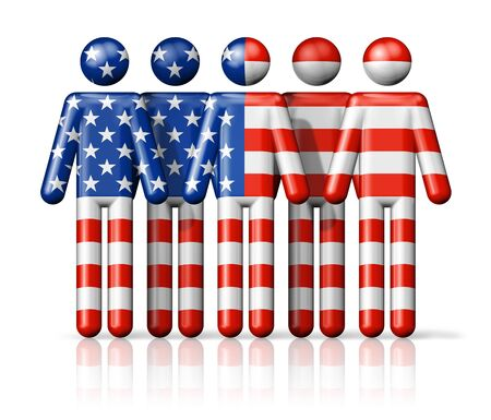 Flag of USA on stick figure  national and social community symbol 3D icon