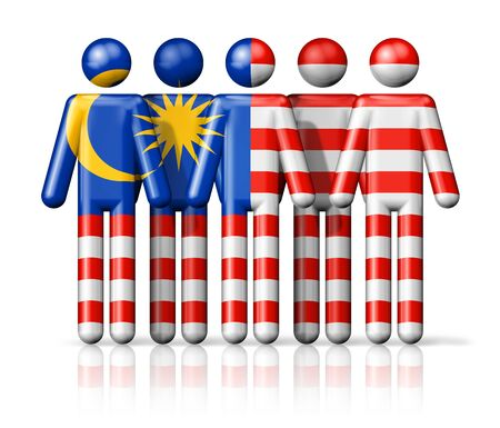 citizenship: Flag of Malaysia on stick figure  national and social community symbol 3D icon Stock Photo
