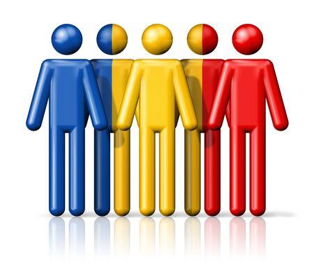 romania flag: Flag of Romania on stick figure  national and social community symbol 3D icon