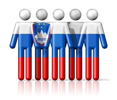 Flag of Slovenia on stick figure  national and social community symbol 3D icon