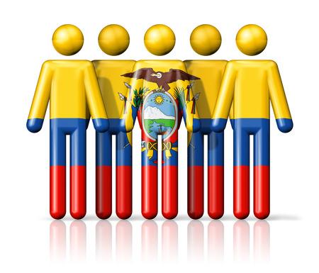 ecuador: Flag of Ecuador on stick figure - national and social community symbol 3D icon