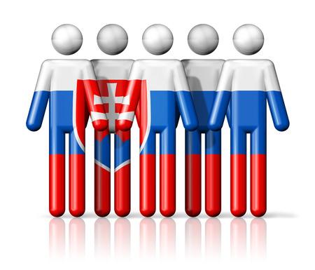 slovakian: Flag of Slovakia on stick figure - national and social community symbol 3D icon