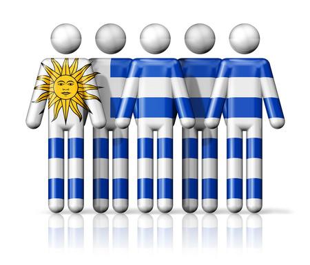 bandera de uruguay: Bandera de Uruguay en la figura de palo - símbolo nacional y social de la comunidad icono 3D Foto de archivo