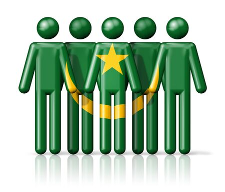 mauritania: Flag of Mauritania on stick figure - national and social community symbol 3D icon Stock Photo