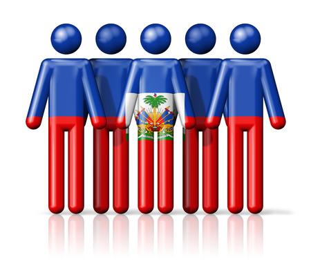 haiti: Flag of Haiti on stick figure - national and social community symbol 3D icon