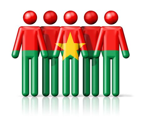 burkina faso: Flag of Burkina Faso on stick figure - national and social community symbol 3D icon