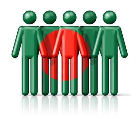 bangladesh 3d: Flag of Bangladesh on stick figure - national and social community symbol 3D icon Stock Photo