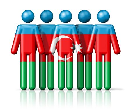 Flag of Azerbaijan on stick figure - national and social community symbol 3D icon Stock Photo