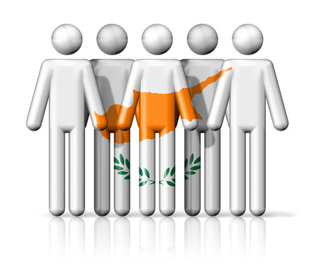 Flag of Cyprus on stick figure - national and social community symbol 3D icon photo